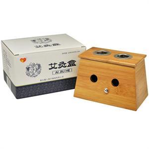 爱心 艾灸盒 双孔楠竹木随身灸 家用理疗温灸器 配合艾条进行使用