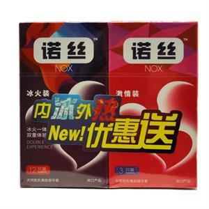 诺丝 天然胶乳橡胶避孕套(冰火装)  康乐工业  12只